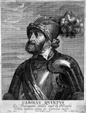view The Emperor Charles V. Engraving by Th. Kessel, 16--, after Titian.