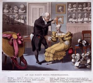 view Franz Joseph Gall measuring the head of a bald, elegantly dressed old lady; her pet poodle is entwined in her wig on a chair. Coloured aquatint by F.C. Hunt after E.F. Lambert.