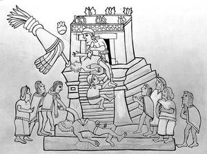view Line Drawing: Human Sacrifice, Aztecs