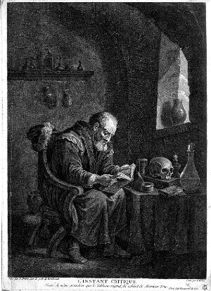 view A scholar-alchemist pores over a book, searching for