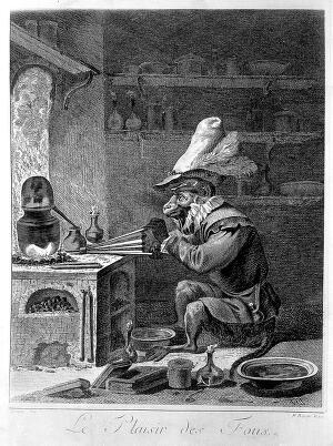 view An monkey-alchemist pumps a bellows in a laboratory; alluding to the vanity of alchemy. Photomechanical reproduction of an engraving by J.P. Le Bas after D. Teniers the younger, ca. 1650.