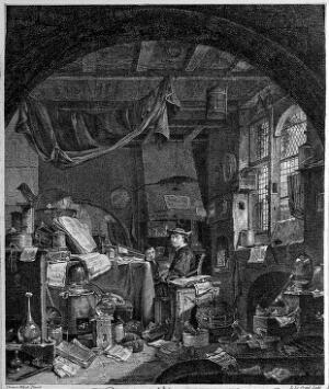 view An alchemist in his untidy laboratory. Etching by L. Le Grand after T. Wyck.