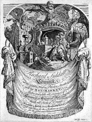 view Advertisement for Richard Siddall, chemist, featuring a pharmacist surrounded by symbols of chemistry. Etching by R. Clee.