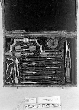 view Leather covered case of trephination instruments.