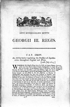 view Apothecaries Act, 1815: first page.
