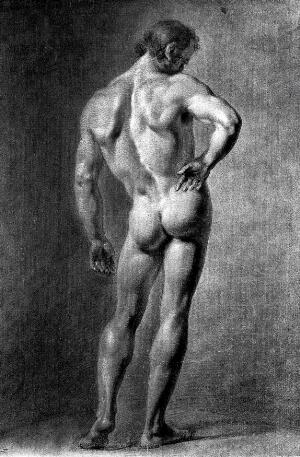 view A standing male nude seen from behind. Black chalk drawing with white highlights by J.J. Masquerier.