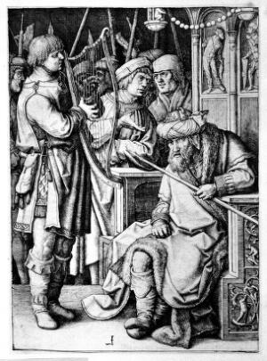 view David playing his harp for a disgruntled Saul in front of a crowd of courtiers and soldiers. Engraving after L. van Leyden, 1508.