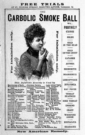 view 'Carbolic Smoke Ball', cold remedy; 1890