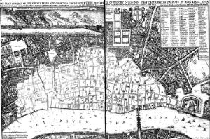 view 'An exact surveigh of the streets, lane and churches, contained within the ruins of the City of London',