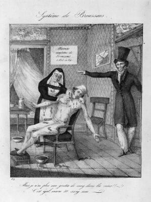 view Broussais instructs a nurse to carry on bleeding a pallid, blood-besmeared patient. Coloured lithograph after V.L.