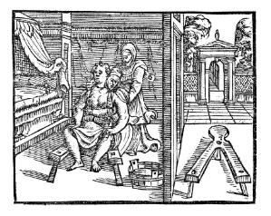 view Posture during labour with stool, 15thC