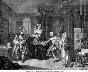 view Hogarth's Marriage a la mode, The Quack Doctor's Studio