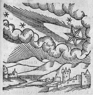 view C. Lycosthenes, 1340 comet in sky and plague at Florence