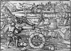 view Invention of artillery by a German monk, 1378.