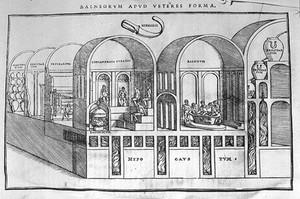 view Balneology: Roman bath house; hot and cold steam baths