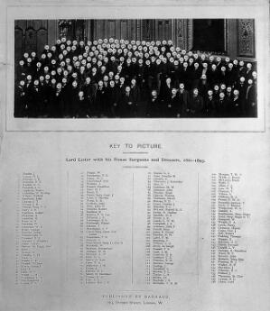 view Lord Lister and his house surgeons and dressers, 1861-1893. Photograph of key to photograph by Barrauds, 189-.