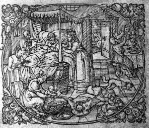 view Lying in room with attendant, child and midwife, 1616