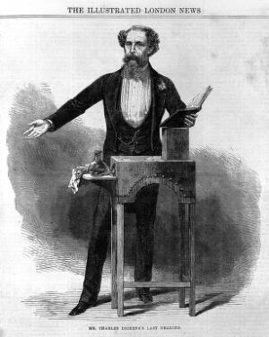 view Dickens giving the last reading of his Works.