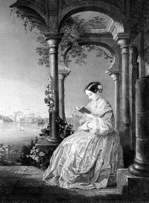 view F. Nightingale, reading, by Wellstood after Wandesforde, 1856