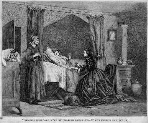 view A wealthy woman visiting the sick. Wood engraving after C. Baugniet.