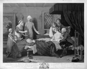 view A man recuperating in bed at a receiving-house of the Royal Humane Society, after resuscitation by W. Hawes and J.C. Lettsom from near drowning. Engraving by R. Pollard, 1787, after R. Smirke.