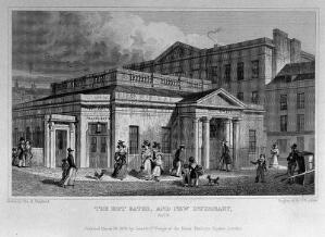 view The hot baths and infirmary, Bath. Steel engraving by J.B. Allen, 1829, after T.H. Shepherd.