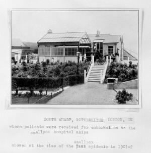 view South Wharf, Rotherhite where patients were received for embarkation to the Hospital Ships, 1901-02.