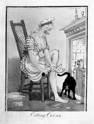 view A woman taking a large knife and scissors to the corns on her feet. Coloured lithograph after J. Gillray.