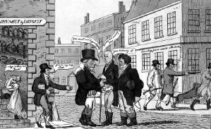 view Several sinister events in a London street. Coloured etching.