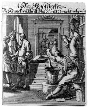 view An apothecary is making up a prescription for waiting customers, another takes a jar down from a shelf. Engraving by C. Luyken, 1695.