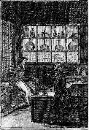 view Interior of a pharmacy, the pharmacist and his apprentice at work. Engraving.