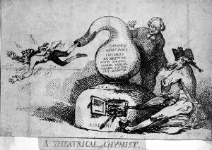 """view A chemist and his assistant as """"puffers"""" heating a substance in a retort; representing a theatre critic who """"puffs"""" the actor Joseph Holman at the bidding of his editor. Etching attributed to T. Rowlandson, ca. 1786."""