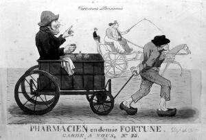 view A poor apothecary in a cart being drawn by his servant are overtaken by a wealthy couple in a horse-drawn carriage with a seat at the back for their servant. Coloured etching.
