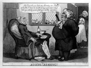view An obese physician pleased with the progress of his emaciated terminally ill patient. Coloured etching by A.M.D. after R. Newton.