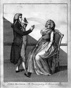 view A man hypnotising a woman using the animal magnetism method. Engraving, 1802, after D. Dodd.