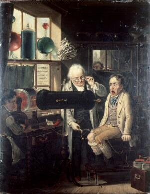 view Dispensing of medical electricity. Oil painting by Edmund Bristow, 1824.