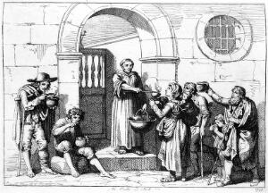 view Child welfare: Monk giving out food to poor, Raccolta...1819