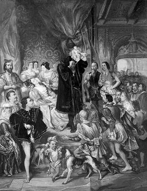 view The birth of Henri IV at the castle of Pau. Oil painting after Eugène-François-Marie-Joseph Devéria.
