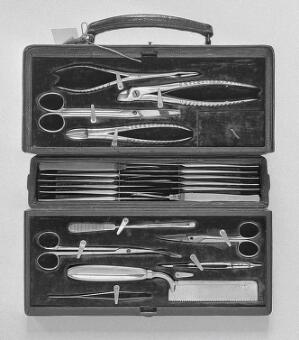 view Aseptic surgical case, early 20th century.
