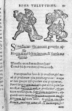 view Woodcut of drunken man vomiting.