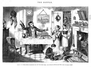 view A man sits at home with his family and offers his wife a drink. Etching by G. Cruikshank, 1847, after himself.