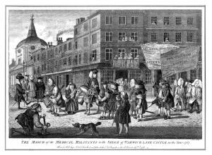 view Protesting licentiates marching to the Royal College of Physicians in 1767. Coloured etching by J. June, 1768.