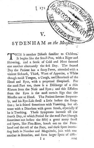 view Sydenham on the Measles, 1742
