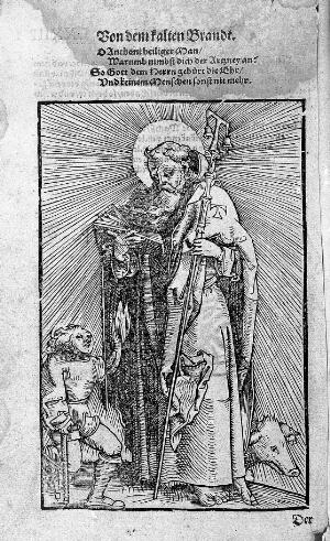 view Woodcut: St. Antony abbot with cripple using crutches.