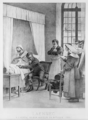 view Laennec and the use of the stethoscope at the Hospital Necker, Paris. Picture after the fresco by Theobold Chartran (1849-1907) in the Sorbonne commemorating the invention of the stethoscope.