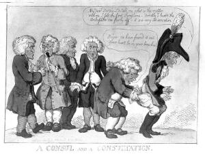 view Five doctors discussing their patient, Napoléon: one of the physicians is examining his rear end. Coloured etching, 1809.