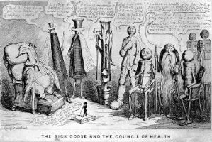 view A large group of doctors deliberating around a patient; presented by figures bearing the characteristics of the cures they are prescribing surrounding a goose. Etching by G. Cruikshank.