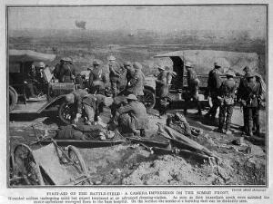 view World War One: first aid on the battlefield, Somme.