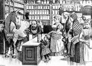 view 'Serum straight from the horse'., inoculation caricature