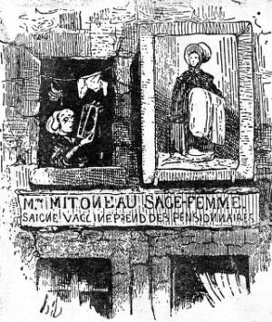view The workplace of a female healer (midwife and surgeon), with signboard, from outside. Reproduction of wood engraving after H. Daumier, 1841.
